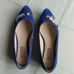Beautiful Blue Suede Moon and Stars Ballet Flats
